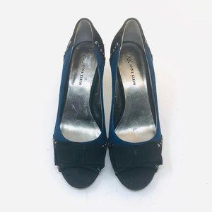 Anne Klein Aknicolla Blue/Black Suede Heels size 8